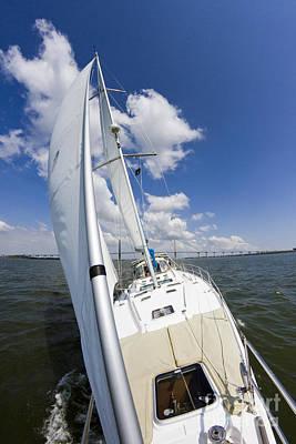 Sailing Yacht Photograph - Sailing On The Charlesotn Harbor Beneteau Sailboat by Dustin K Ryan