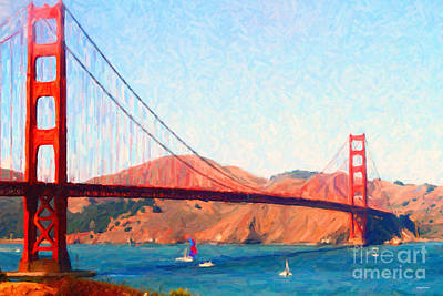 Tourist Attraction Digital Art - Sailing Under The Golden Gate Bridge by Wingsdomain Art and Photography