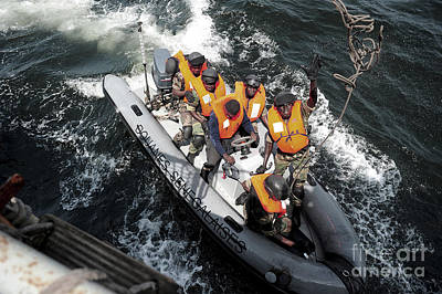 Rigid Hull Inflatable Boats Photograph - Sailors From The Senegalese Navy by Stocktrek Images