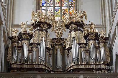 Saint Barbara Church - Organ Loft And Stained Glass In The Churc Print by Michal Boubin