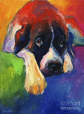 Impressionistic Dog Art Drawing - Saint Bernard Dog Colorful Portrait Painting Print by Svetlana Novikova