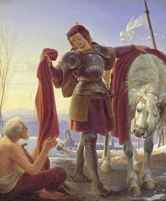 Knights Castle Painting - Saint Martin And The Beggar by Alfred Sethel
