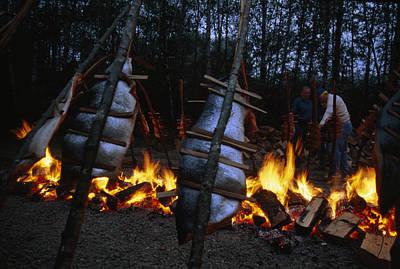 Salmon Bake Around A Bonfire At Depoe Print by Phil Schermeister