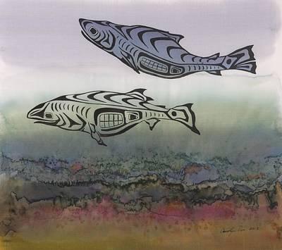 Salmon Stream Print by Carolyn Doe