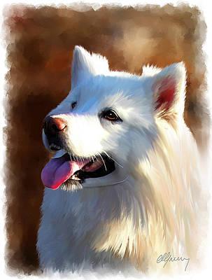 Samoyed Polar Dog Portrait Print by Michael Greenaway