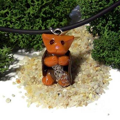 Polymer Clay Jewelry - Samwise Kitty Lord Of The Rings Parody Necklace by Pet Serrano