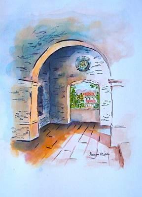 Watercolor Painting - San Diego California Presidio Garrison Fort by Sharon Mick