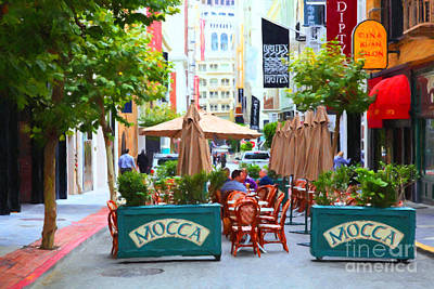 San Francisco Financial District Digital Art - San Francisco - Maiden Lane - Outdoor Lunch At Mocca Cafe - 5d17932 - Painterly by Wingsdomain Art and Photography