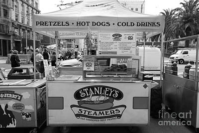 Hot Dog Stands Photograph - San Francisco - Stanley's Steamers Hot Dog Stand - 5d17929 - Black And White by Wingsdomain Art and Photography
