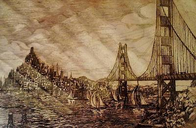 Alcatraz Drawing - San Francisco Bridge Sketch by Unique Consignment