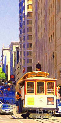 Long Street Digital Art - San Francisco Cable Car Coming Down Powell Street by Wingsdomain Art and Photography