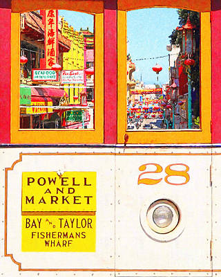 San Francisco Cablecar 28 . Chinatown Print by Wingsdomain Art and Photography