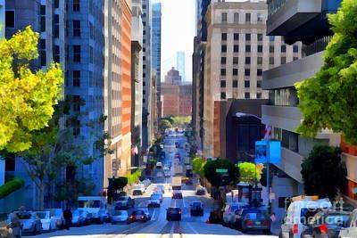 Bay Area Digital Art - San Francisco California Street  . 7d7186 by Wingsdomain Art and Photography