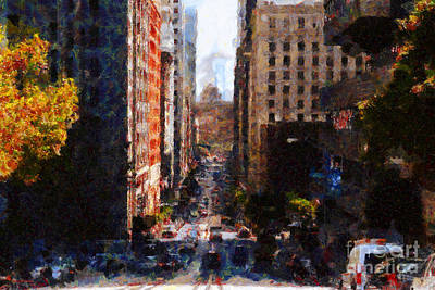 Bay Area Digital Art - San Francisco California Street  . Painterly . 7d7186 by Wingsdomain Art and Photography
