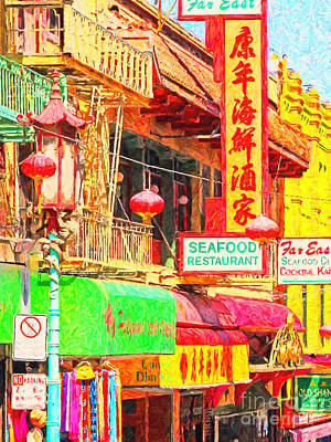 San Francisco Chinatown Shops Print by Wingsdomain Art and Photography