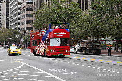 San Francisco Double Decker Tour Bus On Market Street - 5d17851 Print by Wingsdomain Art and Photography