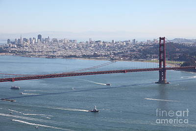 Hawk Photograph - San Francisco Golden Gate Bridge And Skyline Viewed From Hawk Hill In Marin - 5d19605 by Wingsdomain Art and Photography
