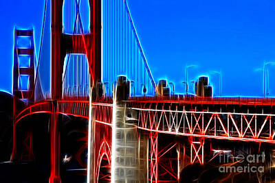 Tourist Attraction Digital Art - San Francisco Golden Gate Bridge Electrified by Wingsdomain Art and Photography