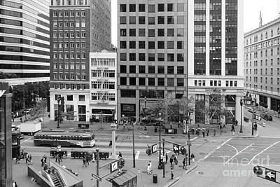 San Francisco Market Street - 5d17877 - Black And White Print by Wingsdomain Art and Photography