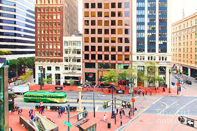 San Francisco Market Street - 5d17877 - Painterly Print by Wingsdomain Art and Photography