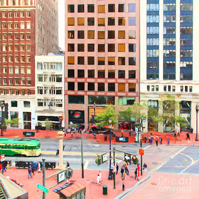 San Francisco Financial District Digital Art - San Francisco Market Street - 5d17877 - Square - Painterly by Wingsdomain Art and Photography