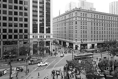 San Francisco Market Street - 5d17883 - Black And White Print by Wingsdomain Art and Photography