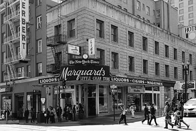 San Francisco Marquards Little Cigar Store Powell Street - 5d17950 - Black And White Print by Wingsdomain Art and Photography
