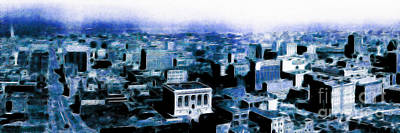 San Francisco Financial District Digital Art - San Francisco Skyline Panorama 1909 From The Ferry Building Through South Of Market . Blue by Wingsdomain Art and Photography