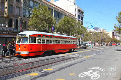 San Francisco Streetcar At The Orpheum Theatre - 5d17998 - Painterly Print by Wingsdomain Art and Photography