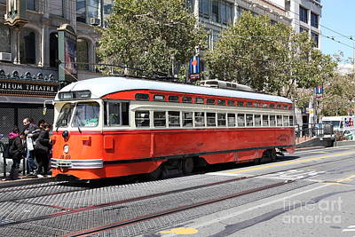 San Francisco Streetcar At The Orpheum Theatre - 5d17999 Print by Wingsdomain Art and Photography