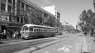 San Francisco Streetcar At The Orpheum Theatre - 5d18000 - Black And White Print by Wingsdomain Art and Photography