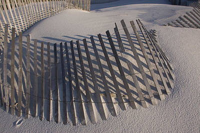 Sand Fence On The Beach In Destin Print by Marc Moritsch