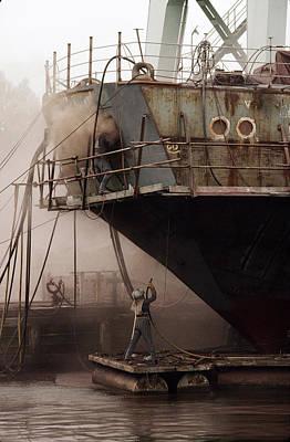 Sandblasters Restore A Soviet Ship Print by Cotton Coulson
