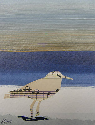 Sandpiper Mixed Media - Sandpiper Sings by Karen Malcolm