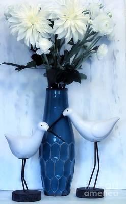 Sandpiper Digital Art - Sandpipers And Bouquet by Marsha Heiken