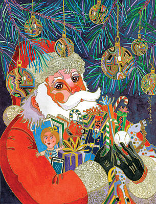 Abstract Realism Painting - Santa And Gifts by Bob Coonts