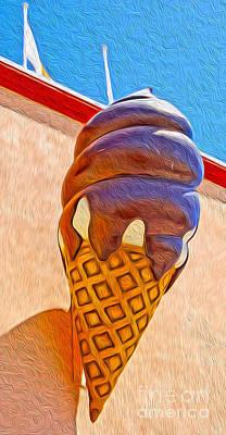 Santa Cruz Boardwalk - Giant Ice Cream Cone Print by Gregory Dyer