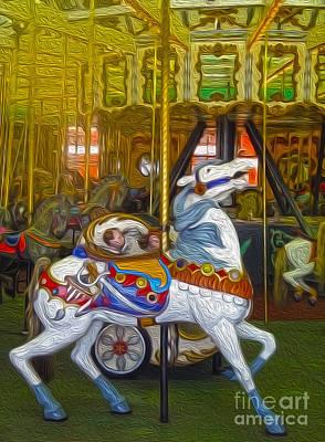Santa Cruz Boardwalk Carousel Horse Print by Gregory Dyer