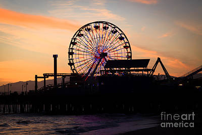Santa Monica Pier Ferris Wheel Sunset Print by Paul Velgos