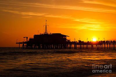 Santa Monica Pier Sunset Print by Paul Velgos