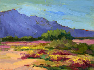Verbena Painting - Santa Rosa Mountains In Spring by Diane McClary