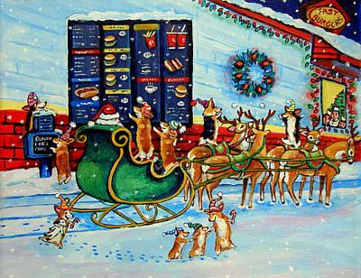 Reindeer Painting - Santa's Pit Stop On  December 24th by Lyn Cook