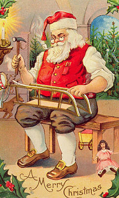 Toy Shop Painting - Santa's Workshop by English School