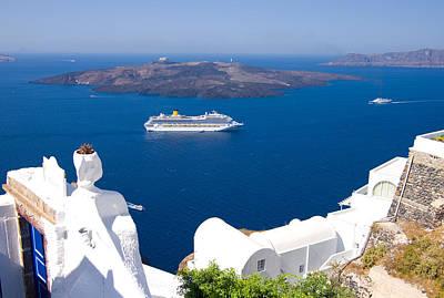 Liner Photograph - Santorini Cruising by Meirion Matthias