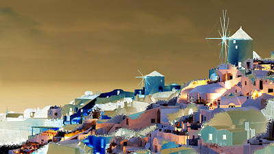 Abstract Beach Landscape Digital Art - Santorini by Ilias Athanasopoulos