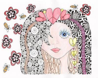Abstract Hearts Drawing - Sarah by Paula Dickerhoff