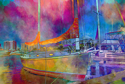 Colorful Abstract Digital Art - Sarasota Sun  by Betsy Knapp