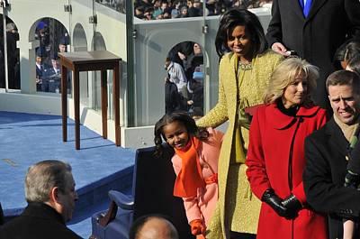 Obama Family Photograph - Sasha Obama Peeks Around Her Mother by Everett