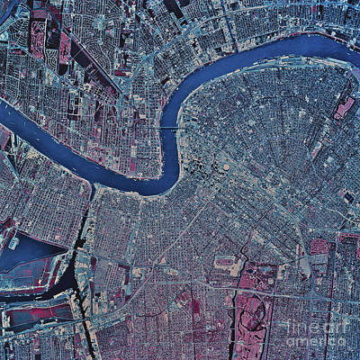 Satellite View Of New Orleans Print by Stocktrek Images