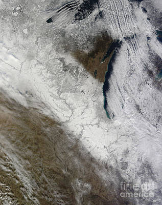 Satellite View Of Snow And Cold Print by Stocktrek Images
